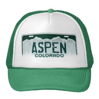 Aspen Colorado license plate souvenir hat