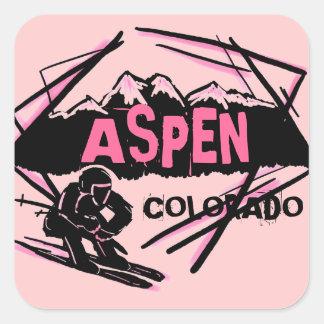 Aspen Colorado pink ski mountain stickers