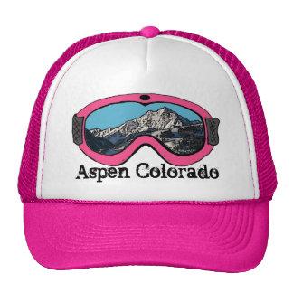 Aspen Colorado pink snow goggle hat