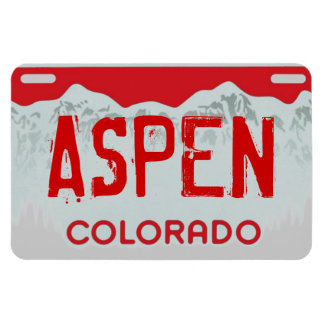 Aspen Colorado red license plate magnet