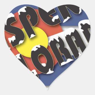 Aspen Colorado - State Flag Heart Sticker
