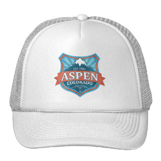 Aspen Colorado teal grunge shield trucker hat