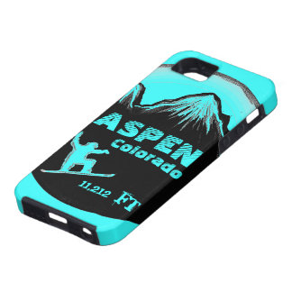 Aspen Colorado teal snowboard art iphone 5 case