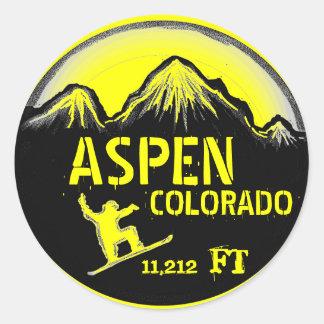 Aspen Colorado yellow snowboard art stickers