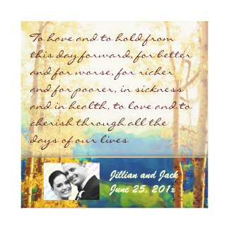 Aspen Glow WEDDING Vows Display Gallery Wrapped Canvas