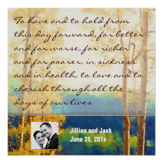 Aspen Glow WEDDING Vows Display Poster