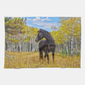 Aspen Gold In Black And White Kitchen Towel