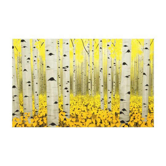 Aspen Grove in Fall Yellow Canvas Print