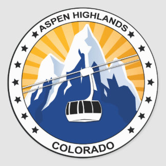 Aspen Highlands Colorado Classic Round Sticker