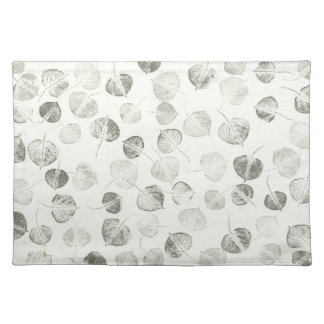 Aspen Leaf Black and White Pattern Placemat