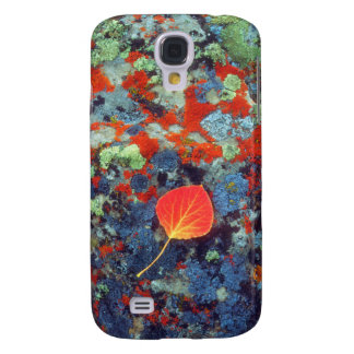 Aspen leaf on a lichen covered rock galaxy s4 case