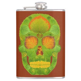 Aspen Leaf Skull 10 Hip Flask