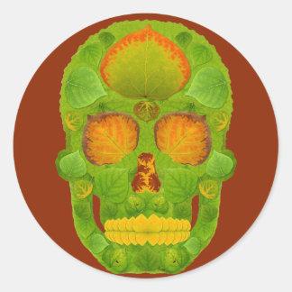 Aspen Leaf Skull 10 Round Sticker
