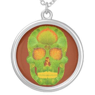 Aspen Leaf Skull 10 Silver Plated Necklace