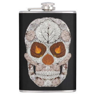 Aspen Leaf Skull 11 Hip Flask