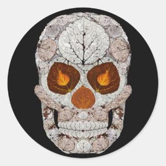 Aspen Leaf Skull 11 Round Sticker