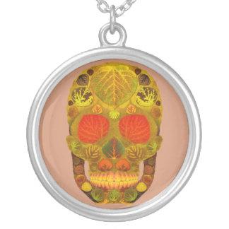 Aspen Leaf Skull 12 Silver Plated Necklace