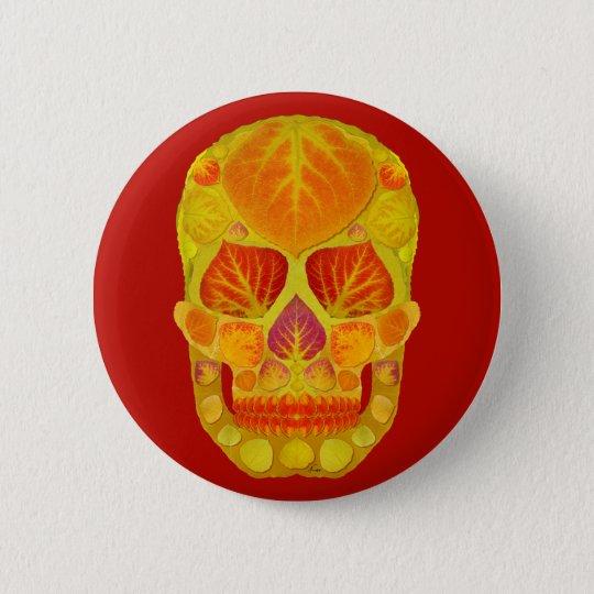 Aspen Leaf Skull 13 6 Cm Round Badge
