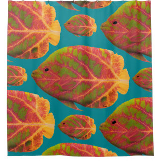 Aspen Leaf Tropical Fish 1 Shower Curtain