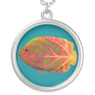 Aspen Leaf Tropical Fish 1 Silver Plated Necklace
