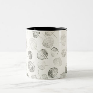 Aspen Leaves Black and White Two-Tone Coffee Mug