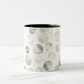 Aspen Leaves Black and White Two-Tone Coffee Mug