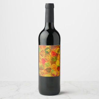 Aspen Leaves Collage Seamless Medley 1 Wine Label