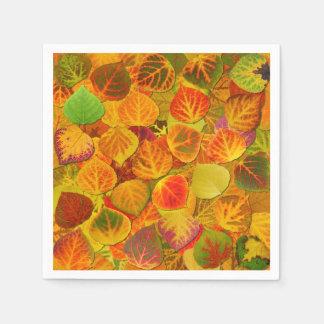 Aspen Leaves Collage Solid Medley 1 Paper Napkin