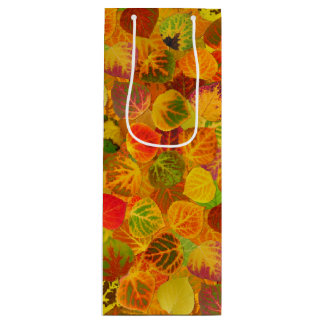 Aspen Leaves collage solid medley seamless 1 Wine Gift Bag