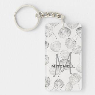 Aspen Leaves Pattern Monogram Double-Sided Rectangular Acrylic Key Ring