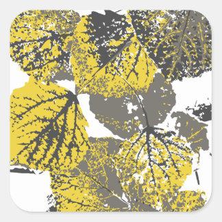 aspen leaves square sticker