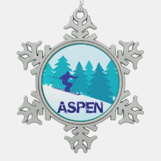 Aspen Ski Circle Snowflake Pewter Christmas Ornament