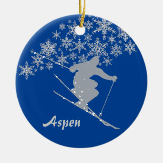 Aspen Snowflake Skier Personalized Christmas Ornament