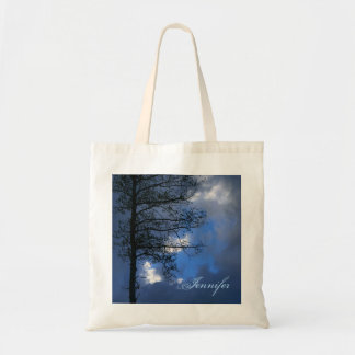 Aspen Tree Blue Sky Silhouette Tote Bags