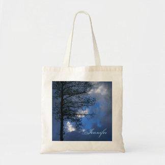 Aspen Tree Blue Sky Silhouette Budget Tote Bag