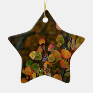 ASPEN TREE BRANCHES WITH FALL COLORED LEAVES CHRISTMAS ORNAMENT