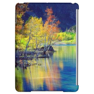 Aspen tree in autumn reflecting in Grant Lake