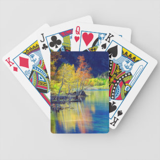 Aspen tree in autumn reflecting in Grant Lake Bicycle Playing Cards