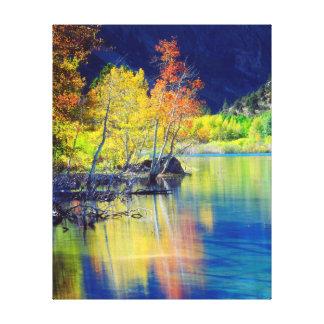 Aspen tree in autumn reflecting in Grant Lake Canvas Print