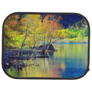 Aspen tree in autumn reflecting in Grant Lake Car Mat