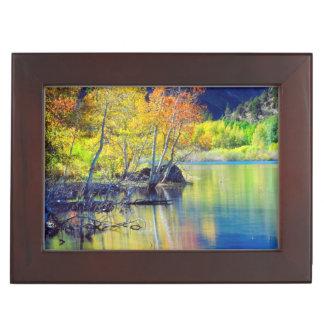 Aspen tree in autumn reflecting in Grant Lake Keepsake Box