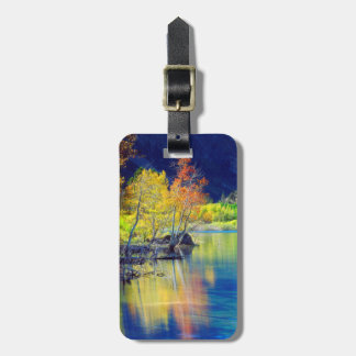 Aspen tree in autumn reflecting in Grant Lake Luggage Tag
