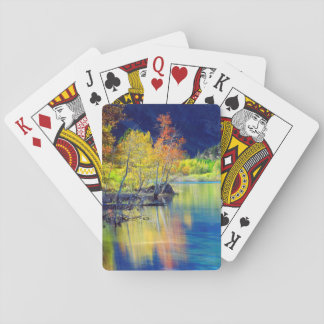 Aspen tree in autumn reflecting in Grant Lake Playing Cards