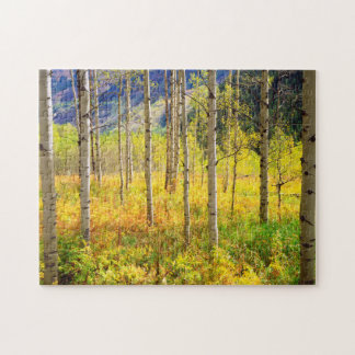 Aspen Trees in Autumn in the Rockies Jigsaw Puzzle