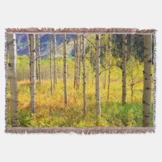 Aspen Trees in Autumn in the Rockies Throw Blanket