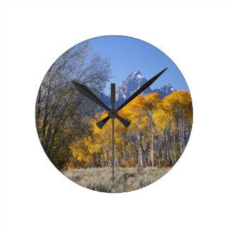 Aspen trees with the Teton mountain range 3 Round Clock