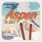 Aspen USA Vintage ski travel poster Square Sticker