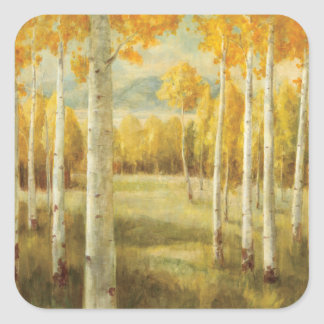 Aspens in Autumn Square Sticker