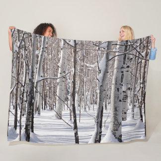 Aspens Trunks & Snow Blend Photograph Fleece Blanket