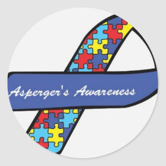 Asperger's Awareness Ribbon Classic Round Sticker